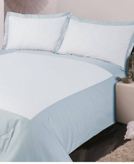 Luxury Hotel Collection Oxford double duvet cover set soft blue