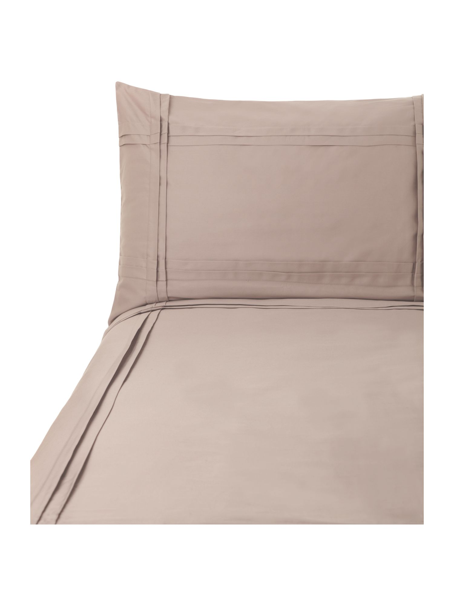 Criss Cross Pleats double duvet cover set taupe