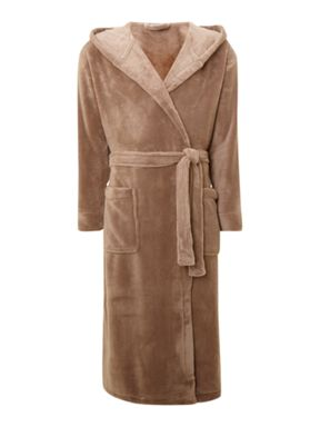 Linea Fleece robe with hood in mocha