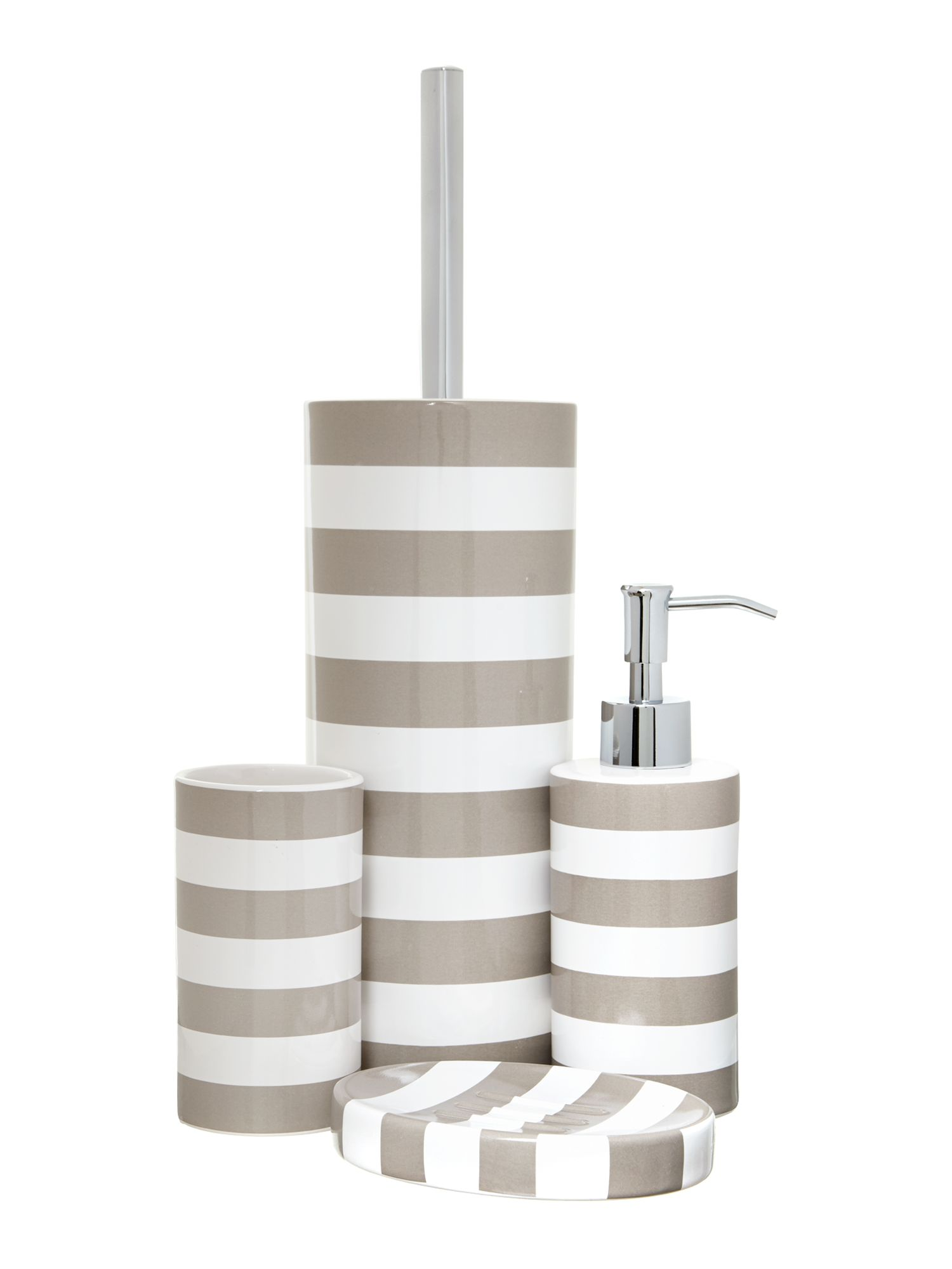 Striped bathroom accessories in natural