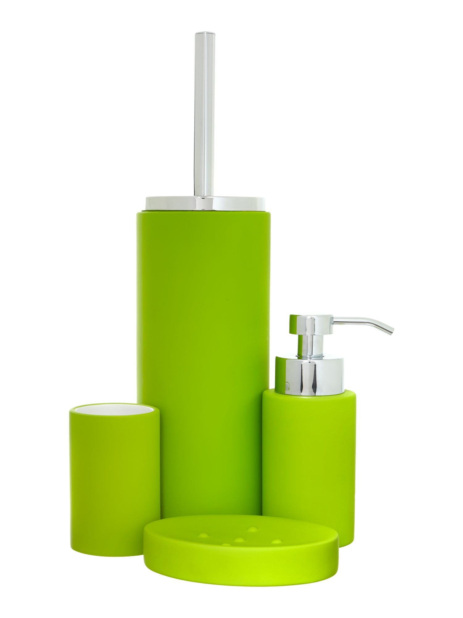 Soft touch bath accessories in lime