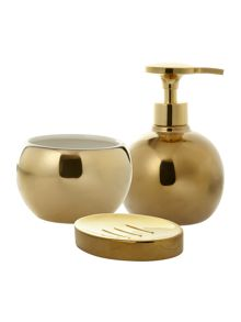 Metallic gold bathroom accessories