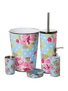 Linea pretty floral bathroom accessories house of fraser for Floral bath accessories