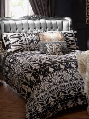 Biba Nouveau bed linen in black and ivory