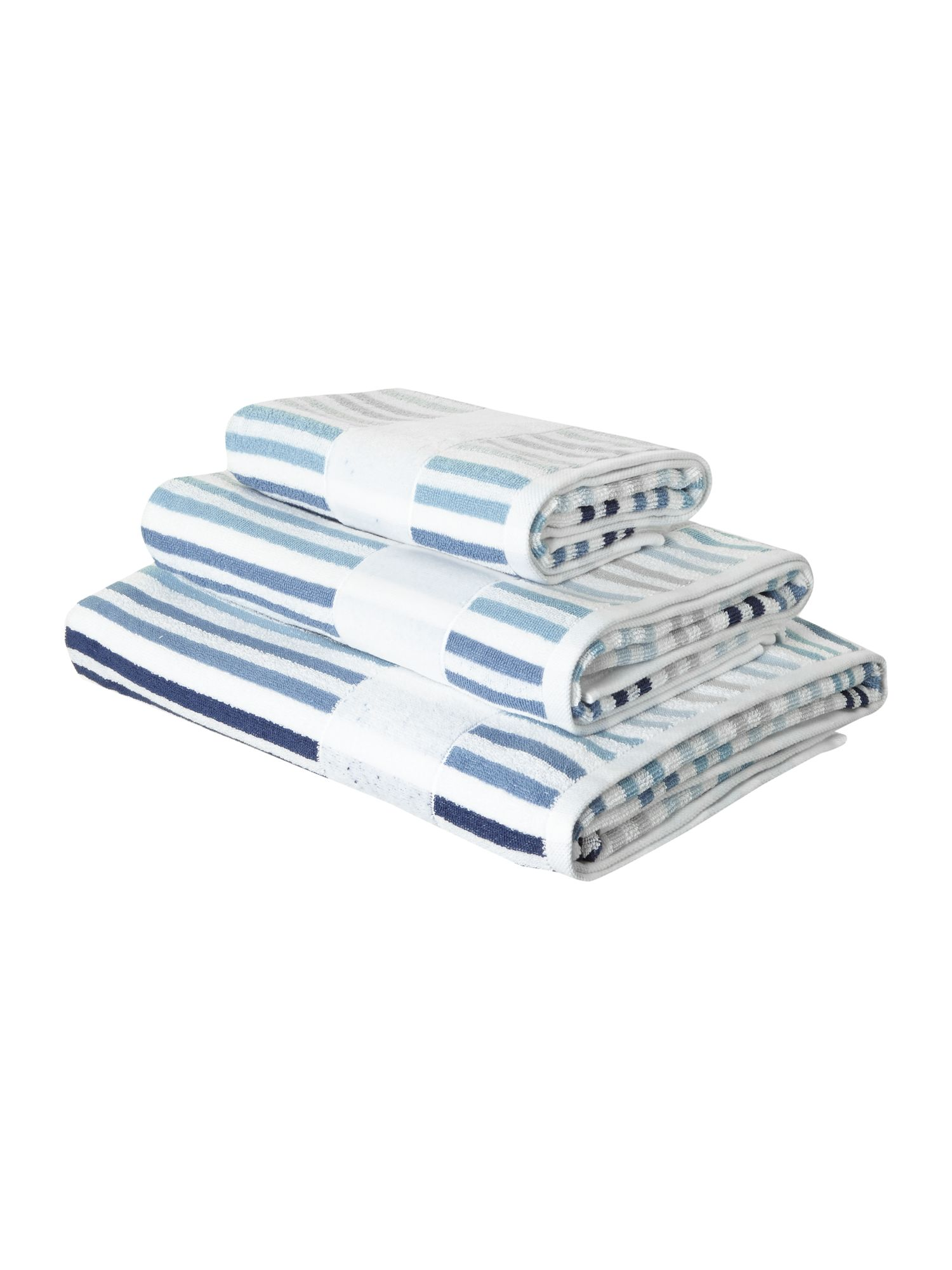 Yarn stripe towels in blue