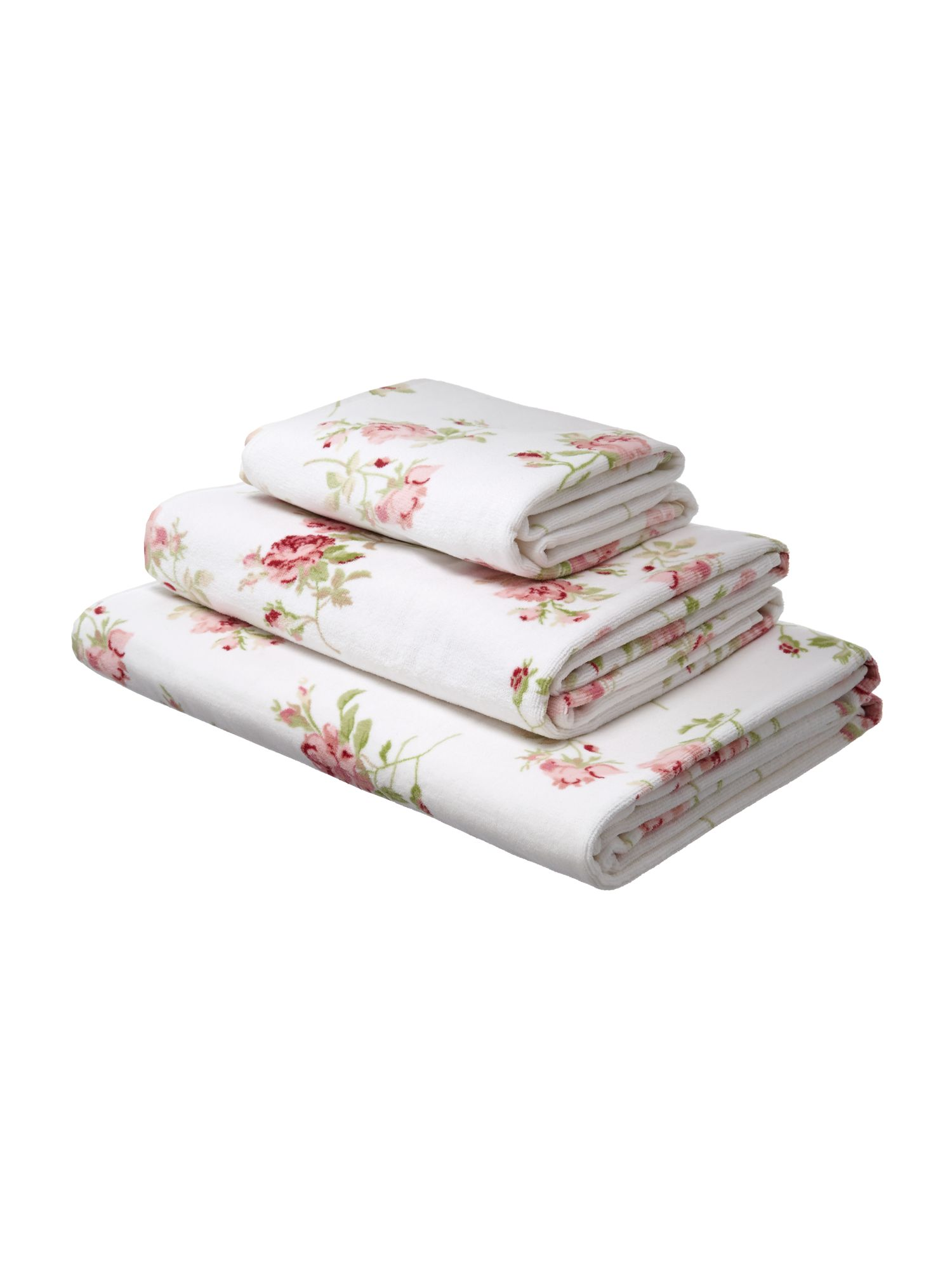 Velour towels in floral rose