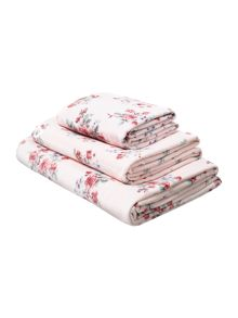 Shabby Chic Rose floral velour towels in misty