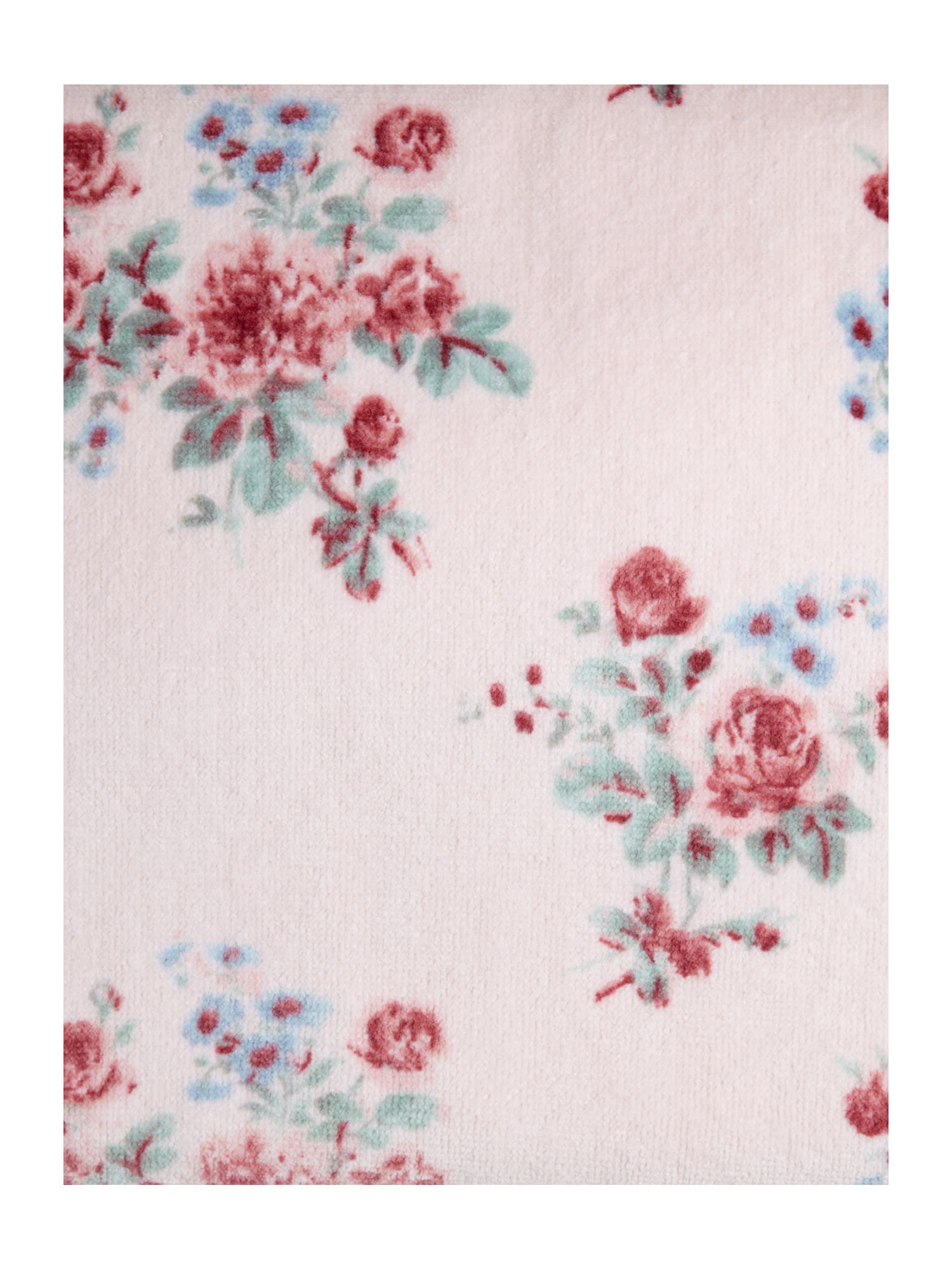 Rose floral velour towels in misty