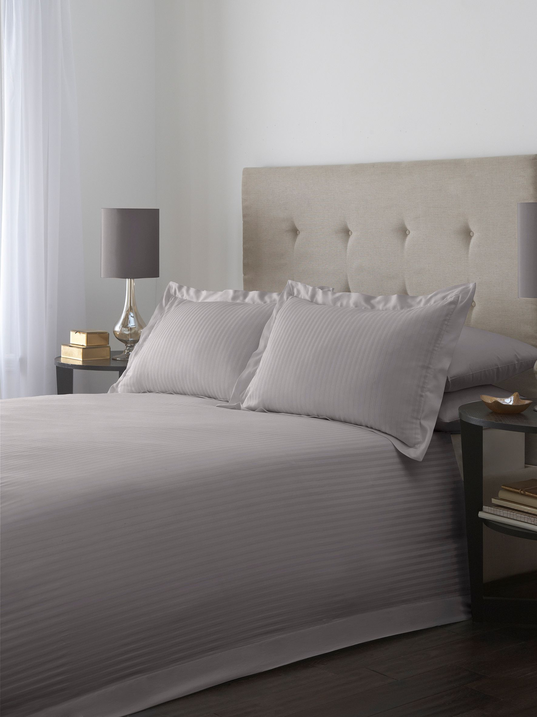 Satin stripe double duvet cover set in grey