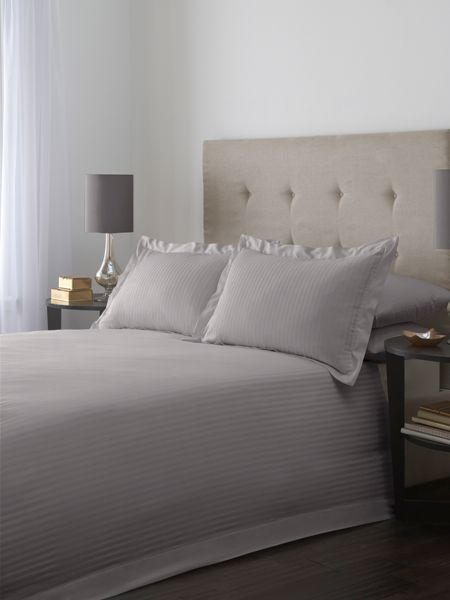 Luxury Hotel Collection Satin stripe single duvet cover set in grey