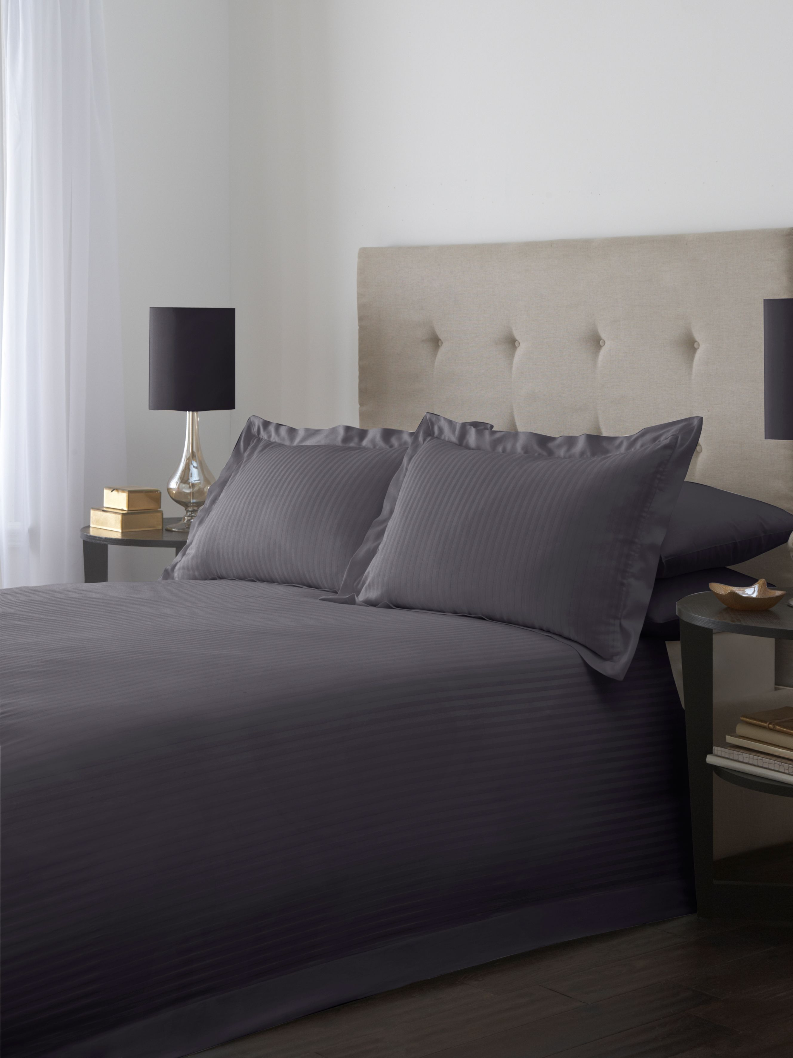 Satin stripe double duvet cover set in slate