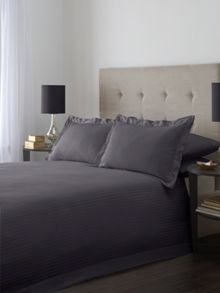 Satin stripe single duvet cover set in slate