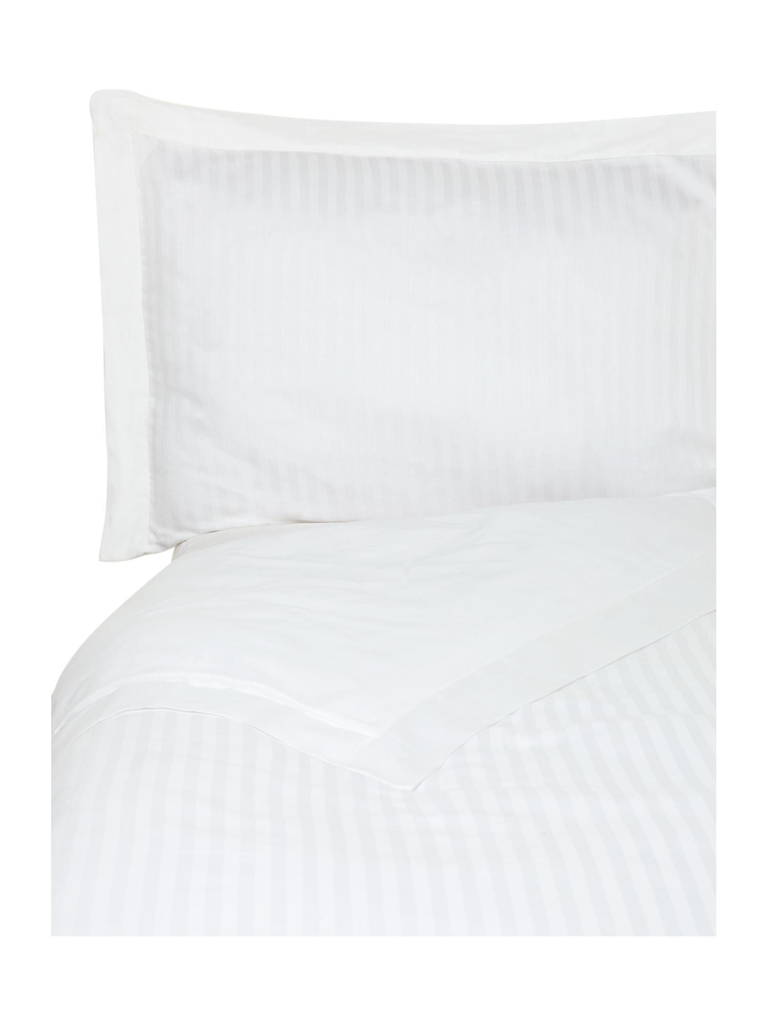 Satin stripe duvet cover set in white