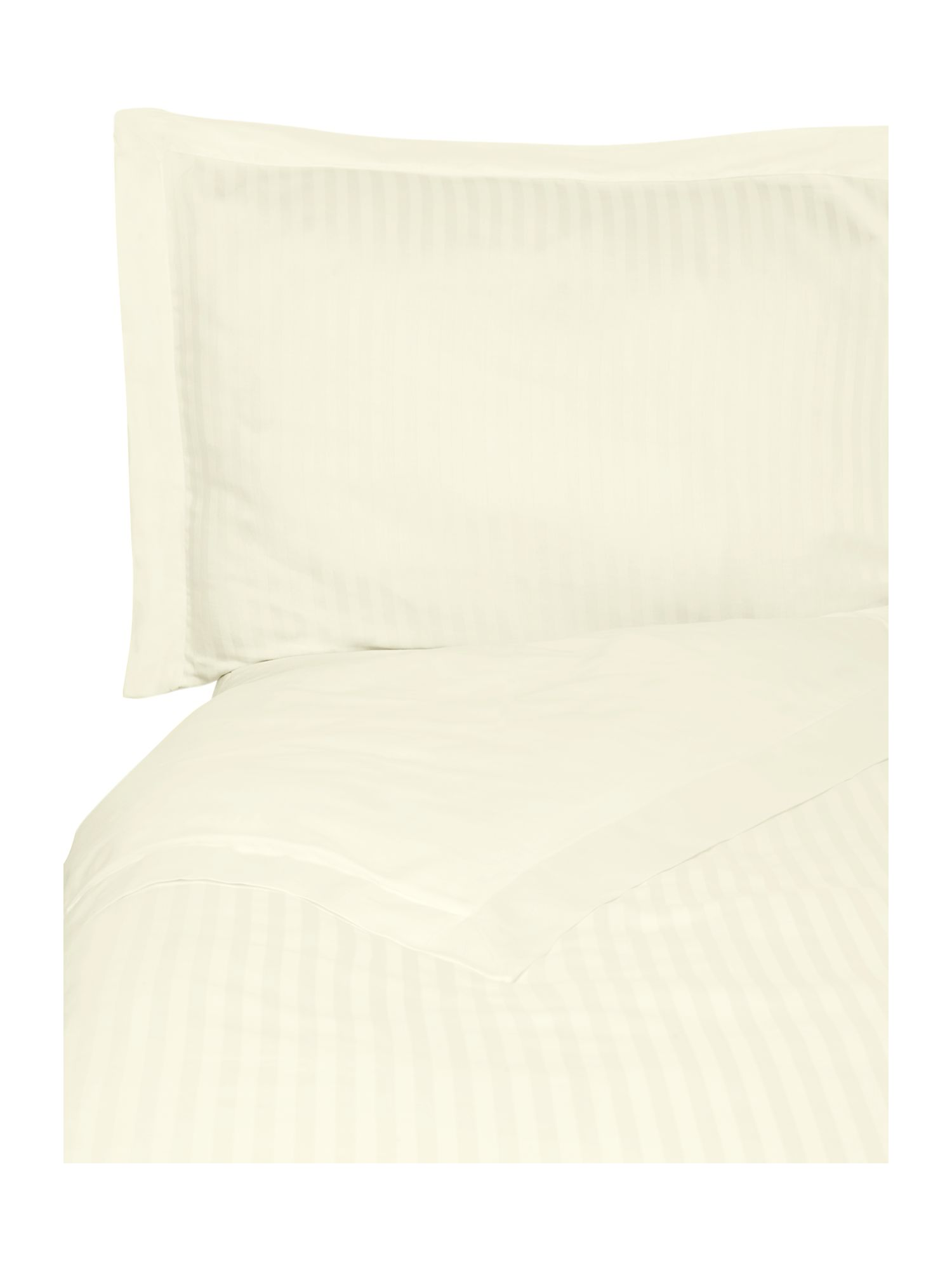 Satin stripe duvet cover set in cream.