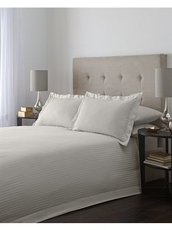 Satin stripe single duvet cover set in taupe