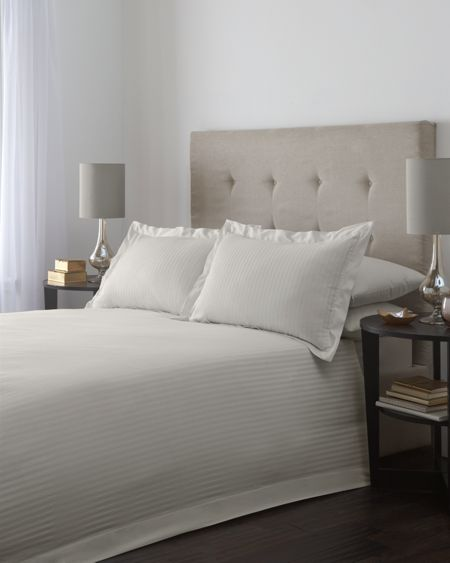 Luxury Hotel Collection Satin stripe single duvet cover set in taupe
