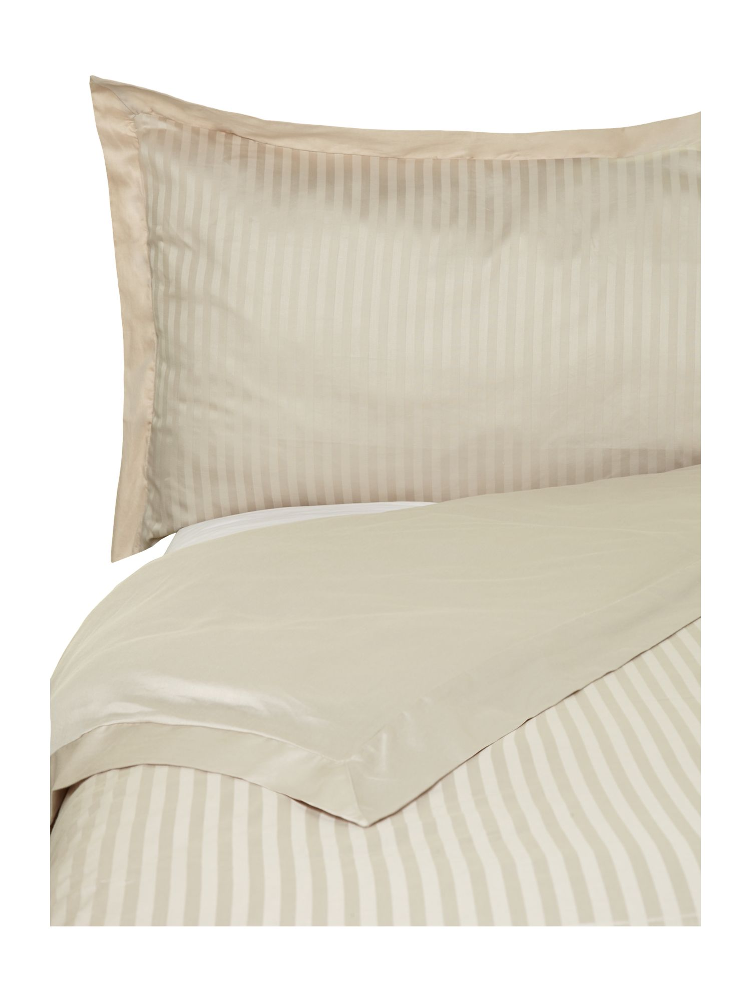 Satin stripe duvet set in taupe