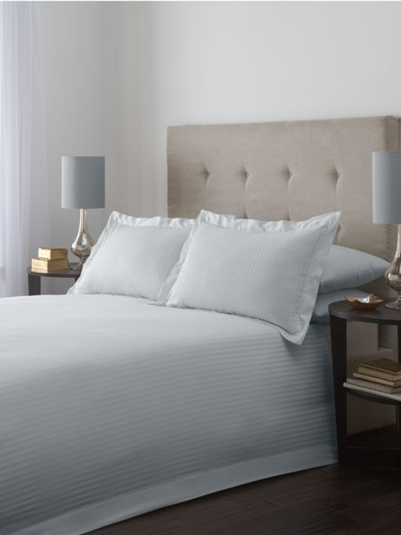 Luxury Hotel Collection Satin stripe single duvet cover set in soft blue