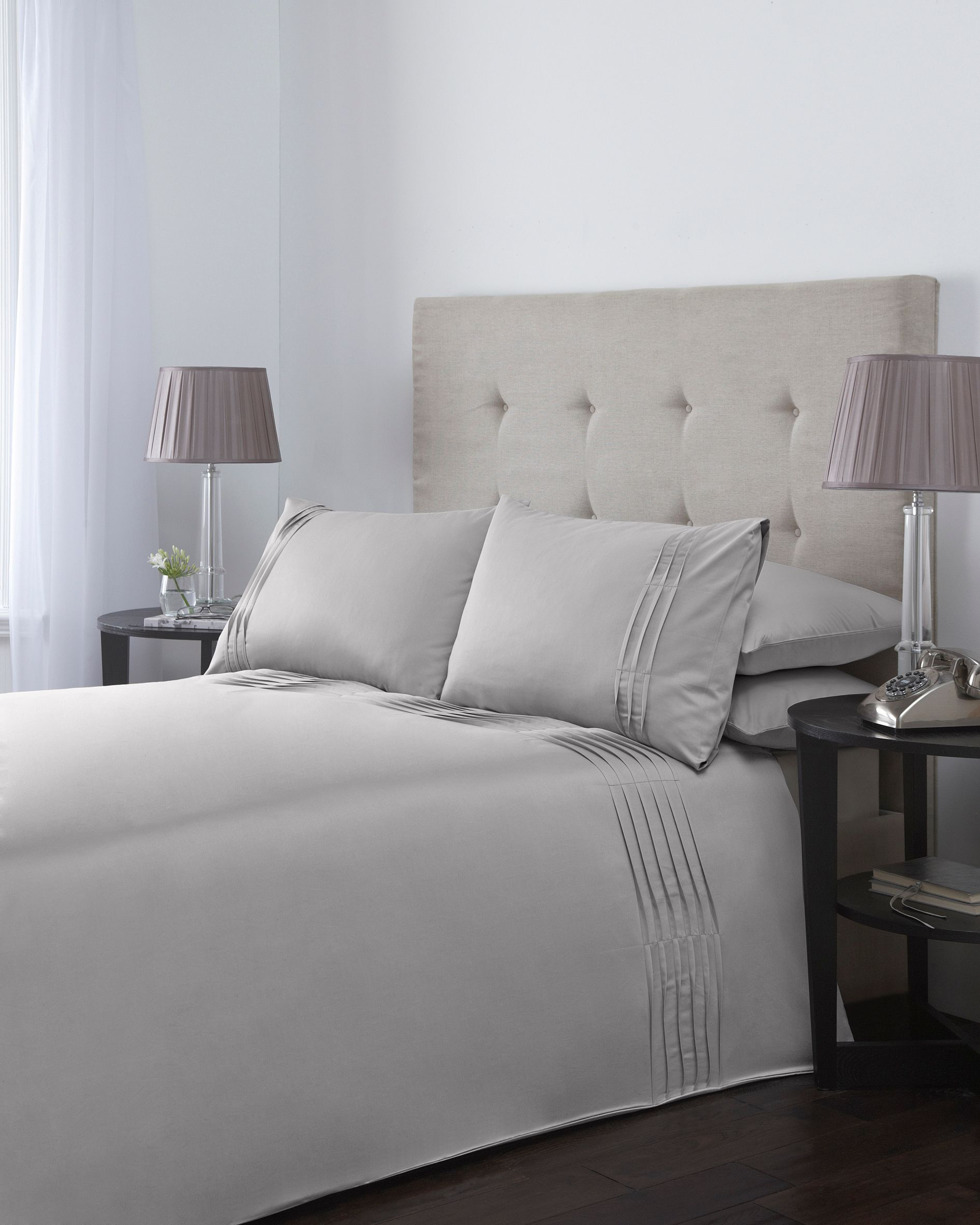 Ripple pleats double duvet cover set in taupe