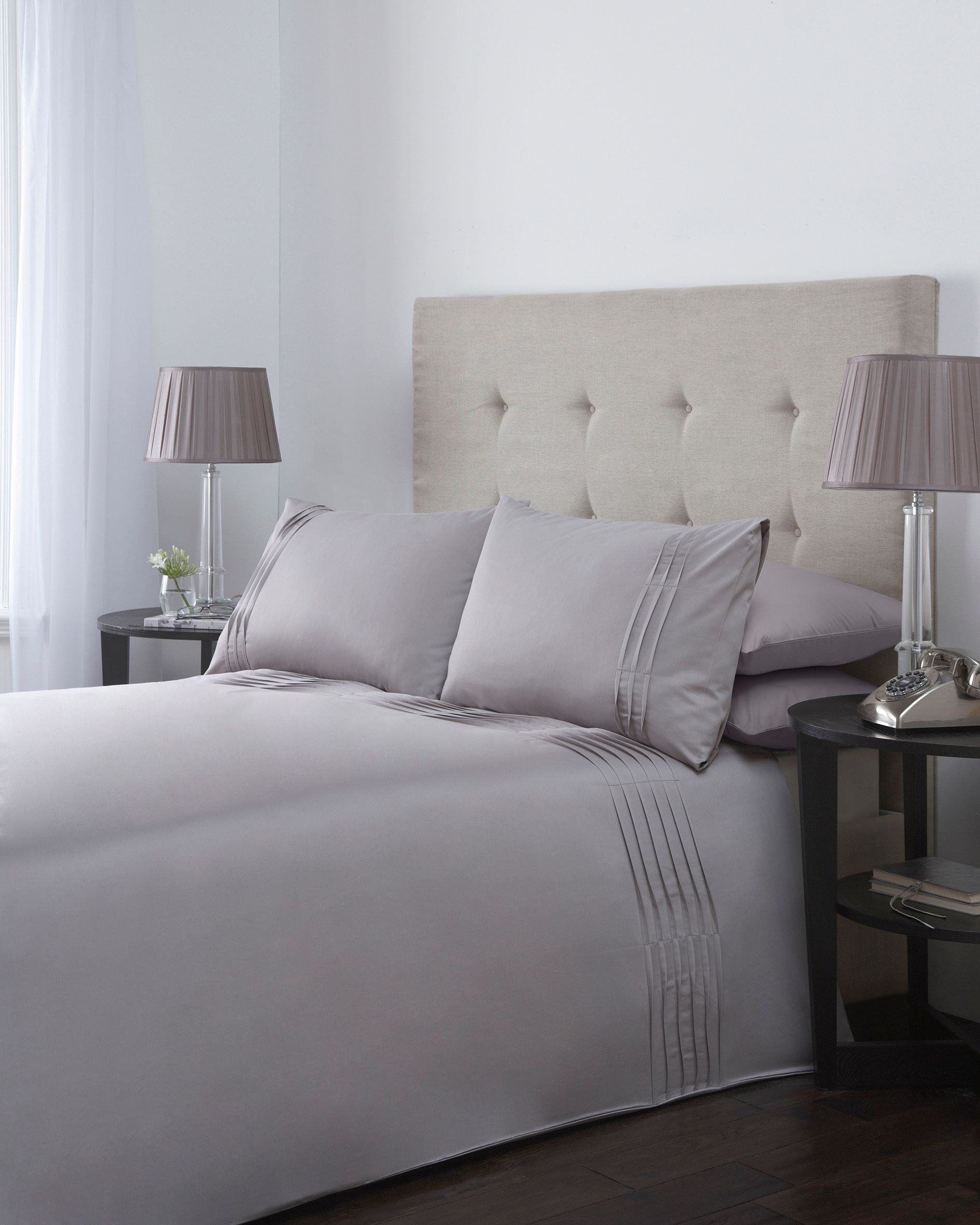 Ripple pleats double duvet cover set in grey