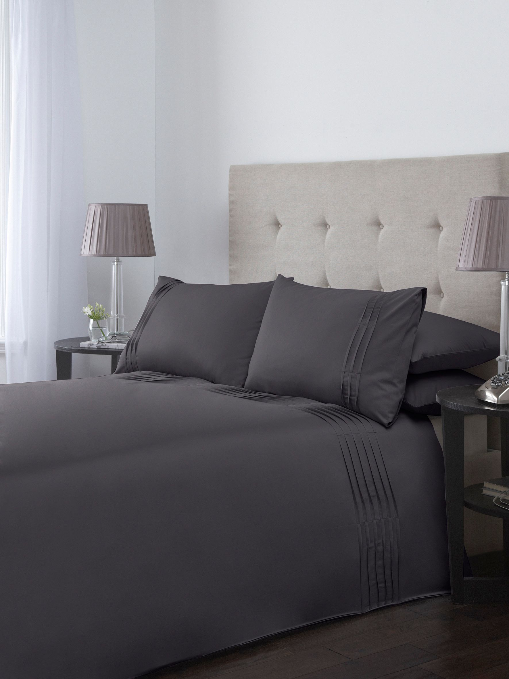 Ripple pleats double duvet cover set in slate