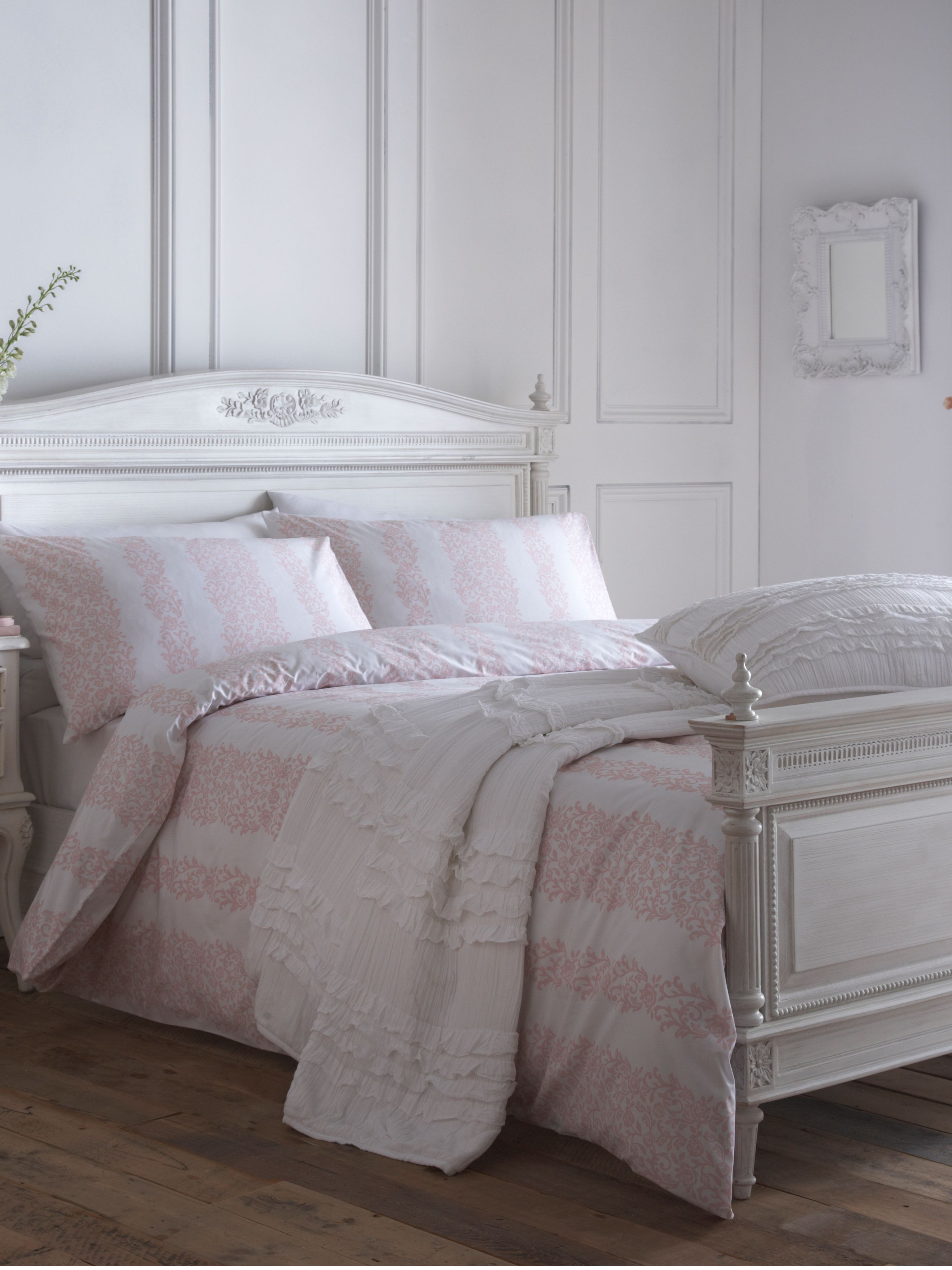 Pink damask stripe super king duvet set