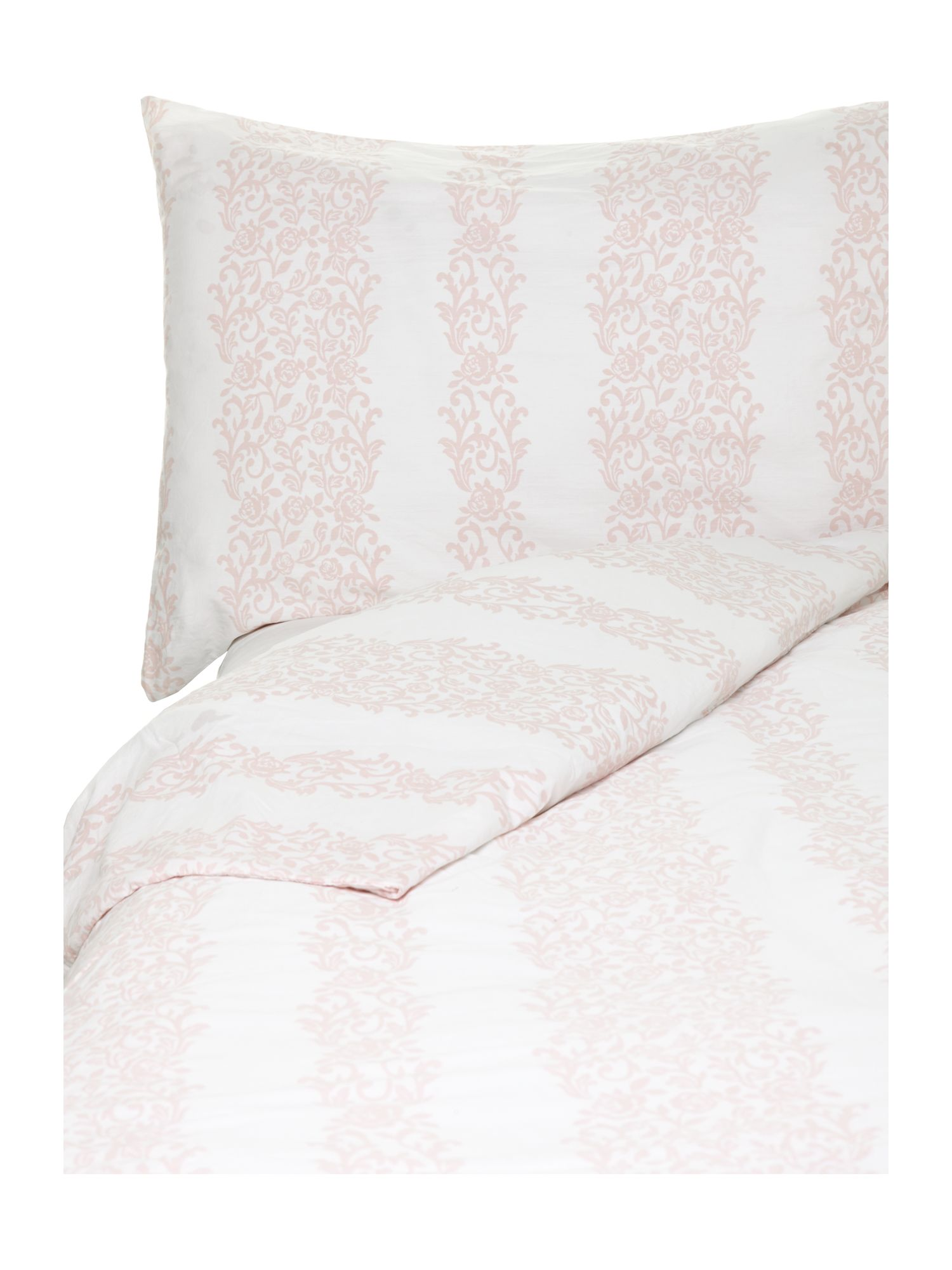 Voile white frill bed linen in pink