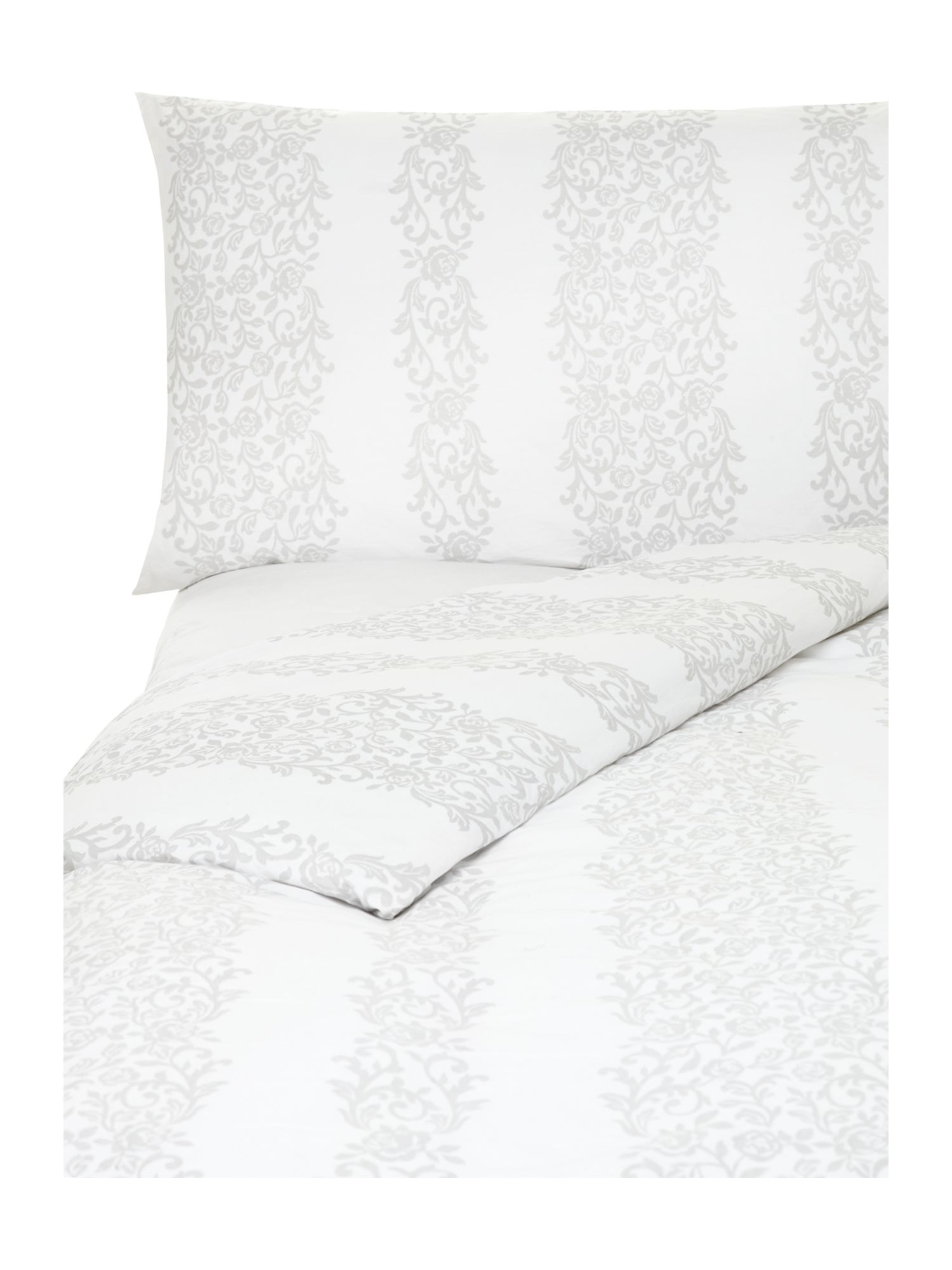 Voile white frill bed linen in grey