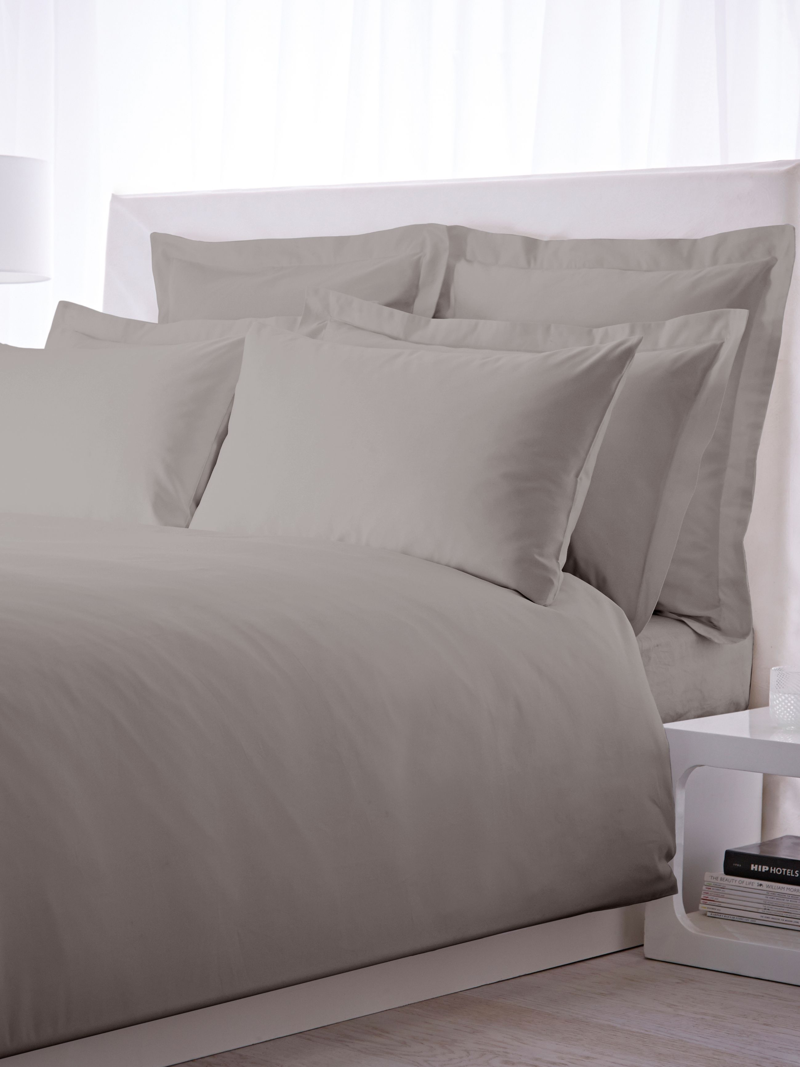 500 thread count double fitted sheet pair grey