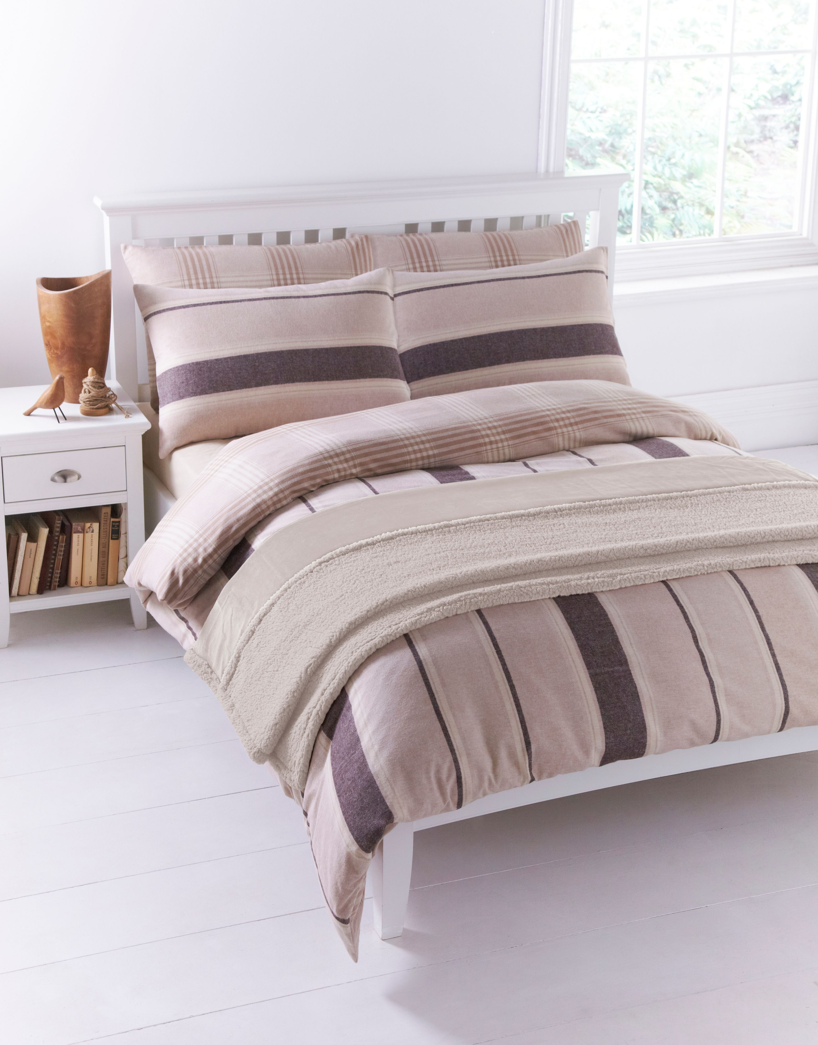 Beige flannel king duvet cover set