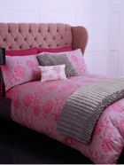 Peony jacquard bed linen in coral