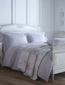 Embroidered Frill oxford pillowcase pair lilac