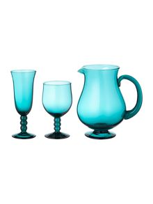 Graphical rhythm teal glassware range