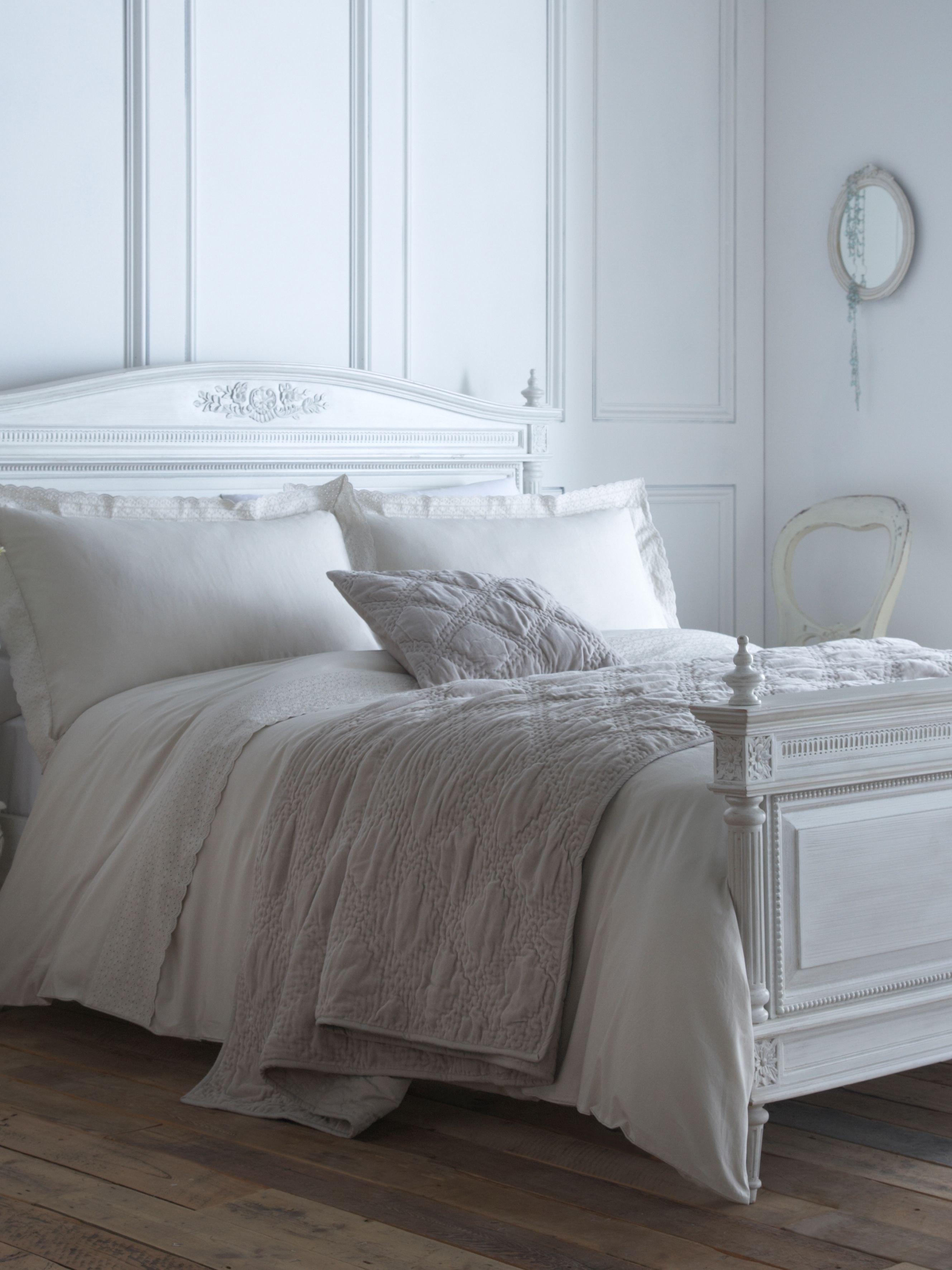 Embroidered frill double duvet cover