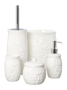 White debossed floral bath accessories