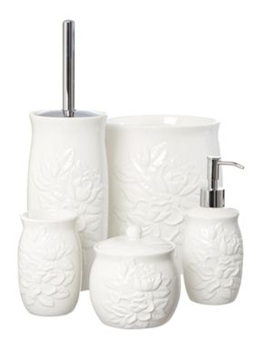 Shabby Chic White debossed floral bath accessories