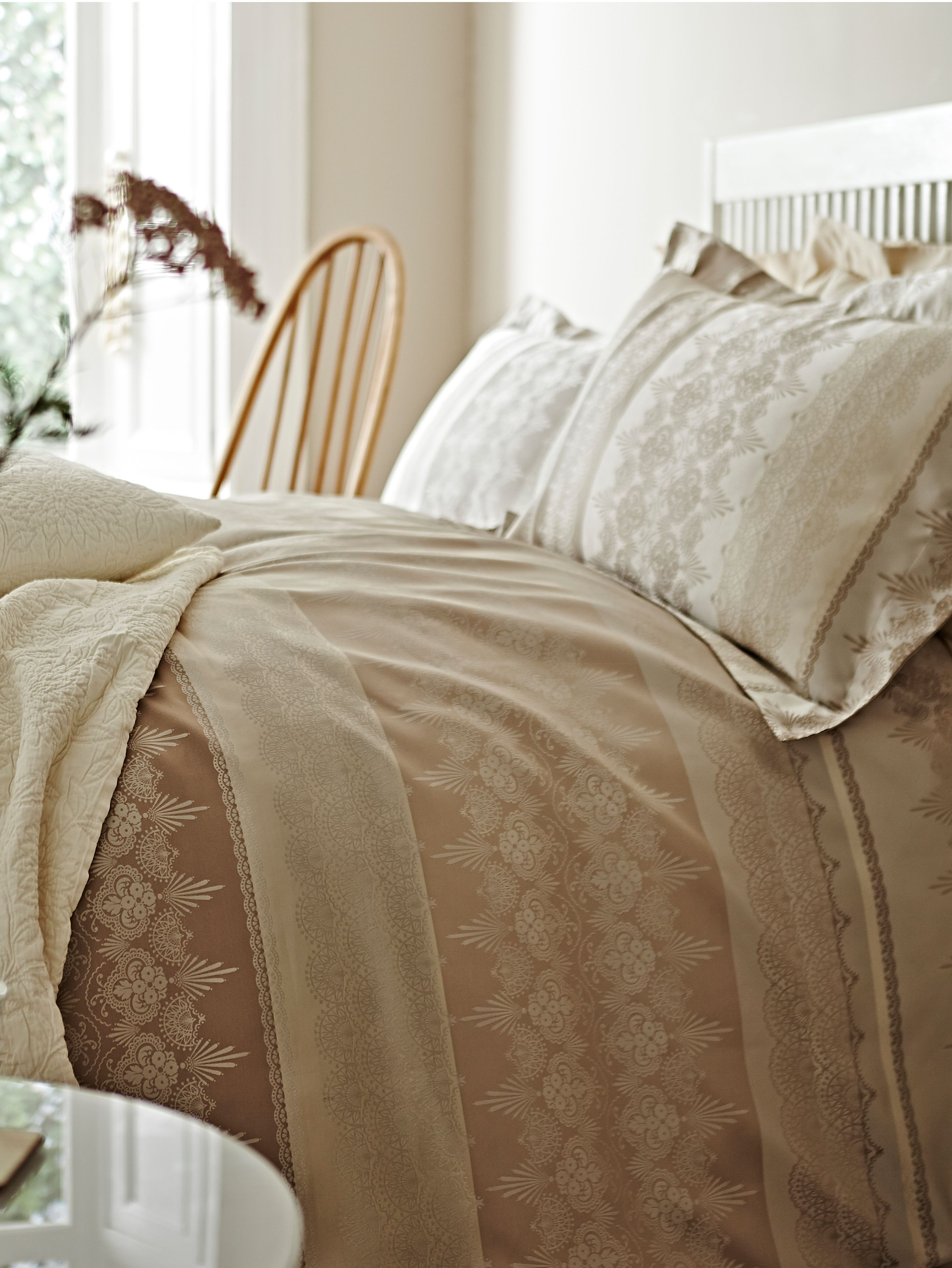 Lace jacquard king duvet set