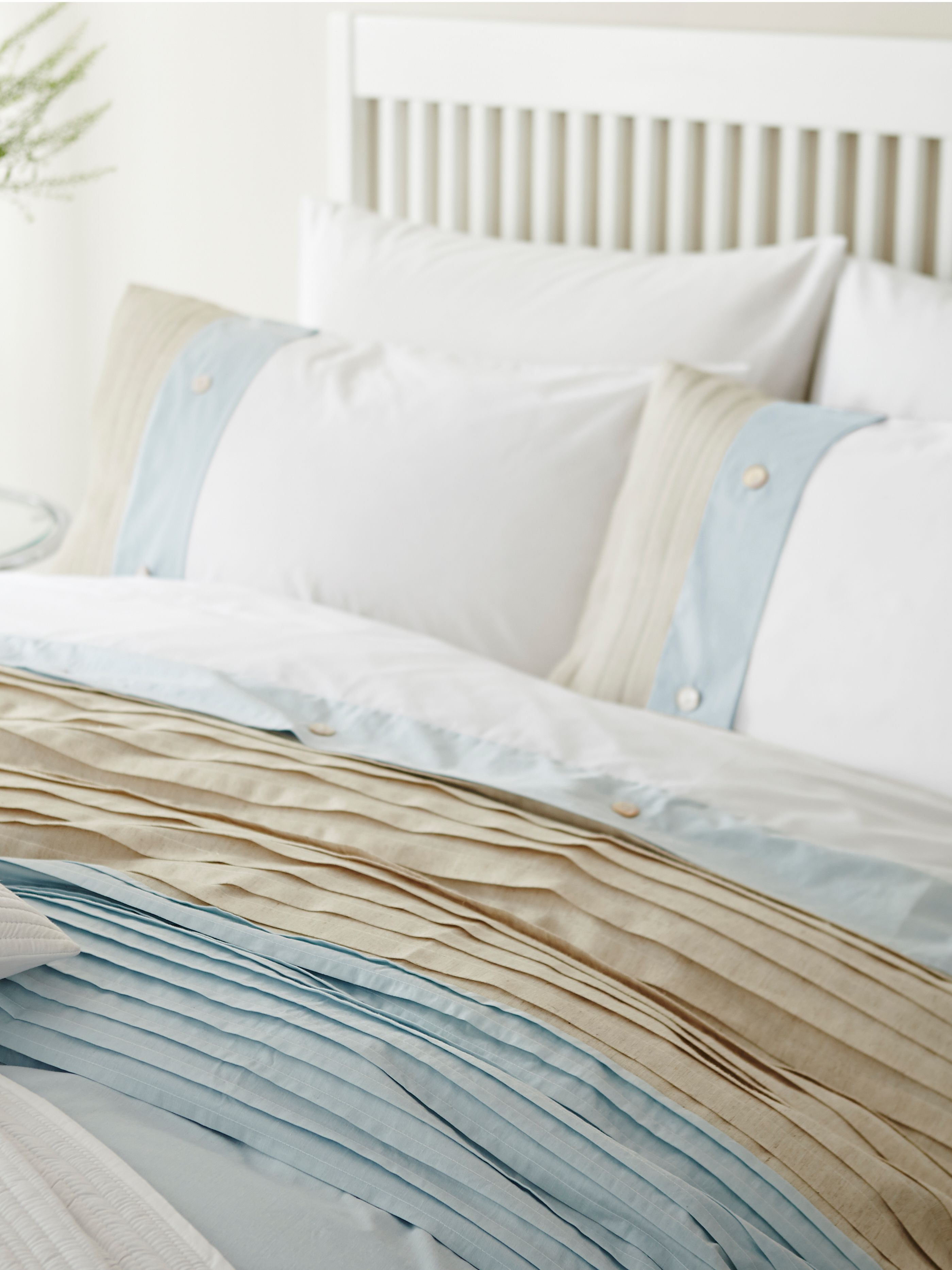 Natural pleat mineral double duvet set