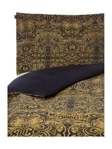 Biba Black and gold scroll jacquard double duvet cover