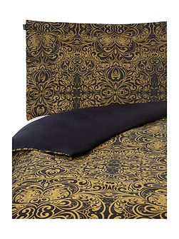 Black and gold scroll jacquard double duvet cover