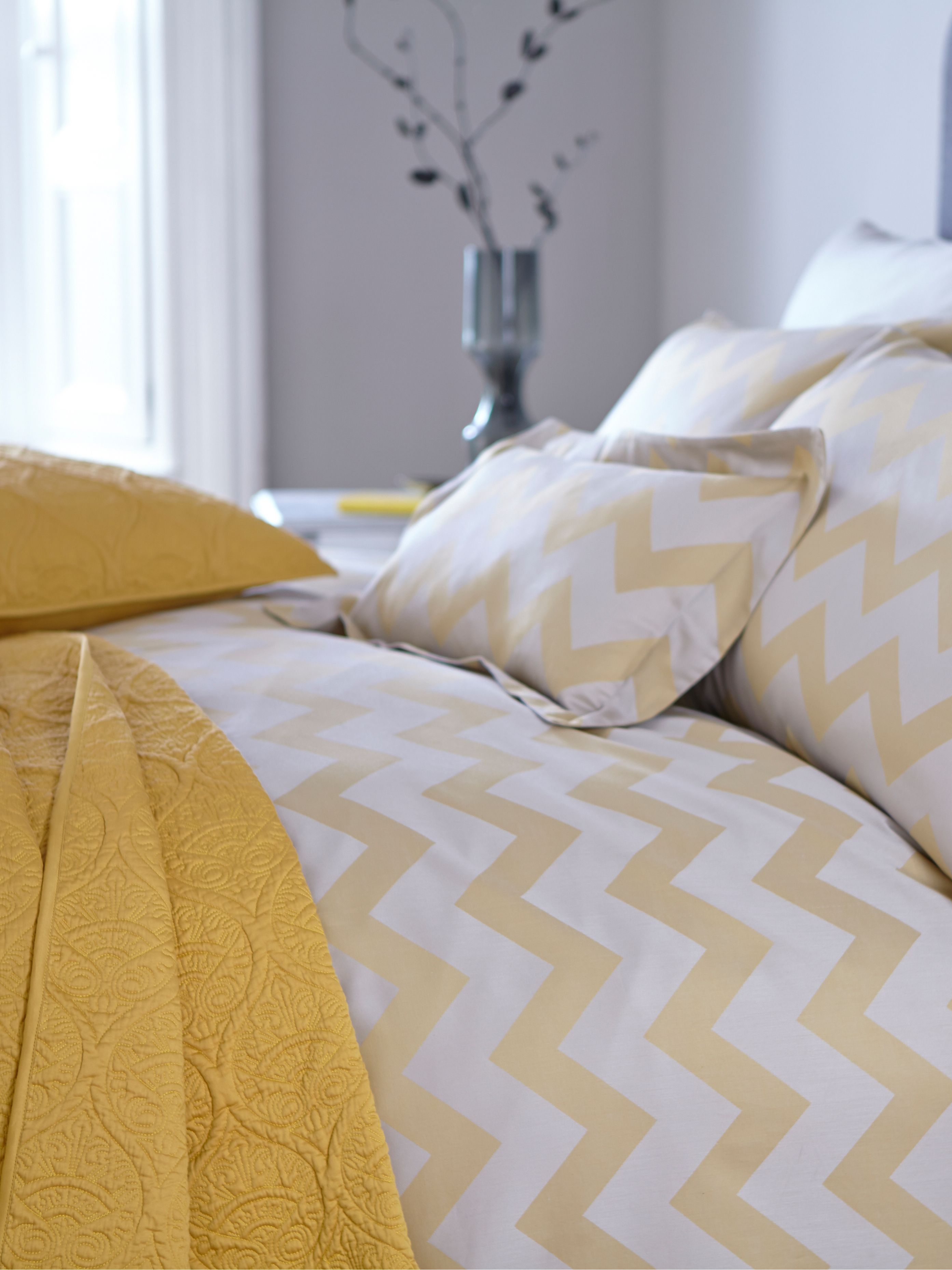 Citrine chevron bed linen