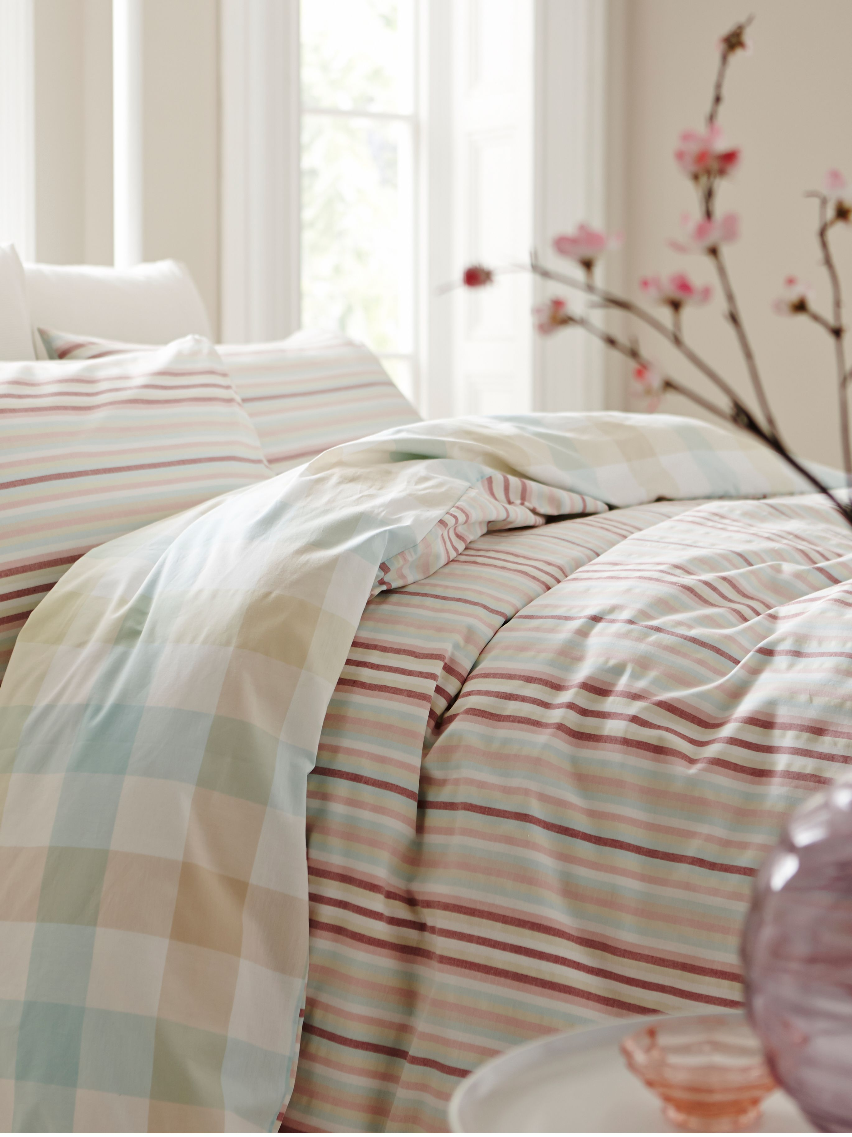 Pastel stripe double duvet cover set