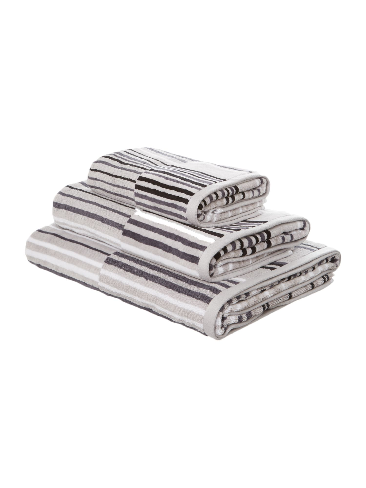 Monochrome velour stripe towels