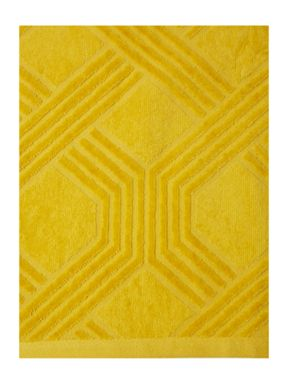 Living by Christiane Lemieux Geometric jaquard towel in citrine