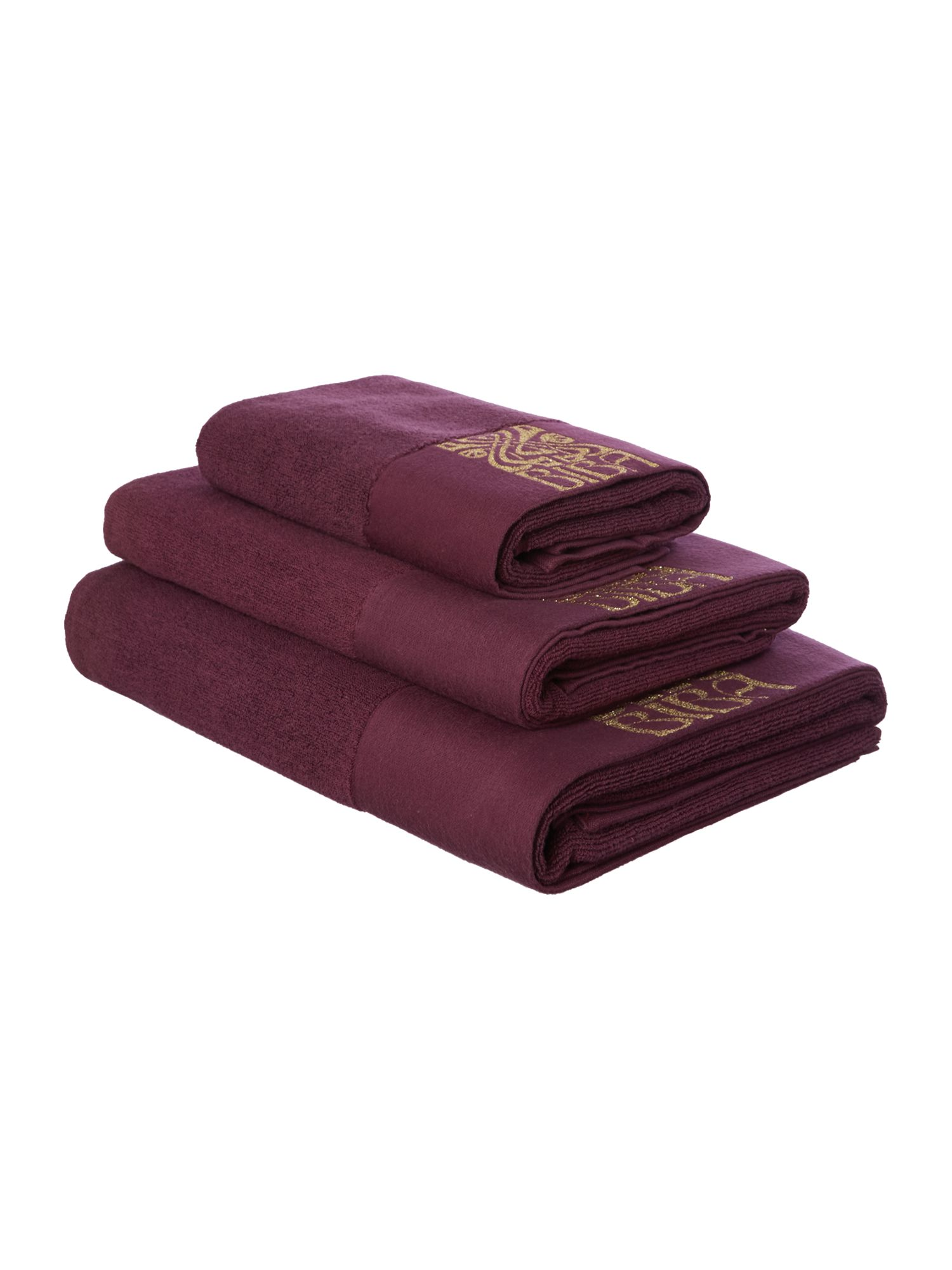 Gold logo towels in plum