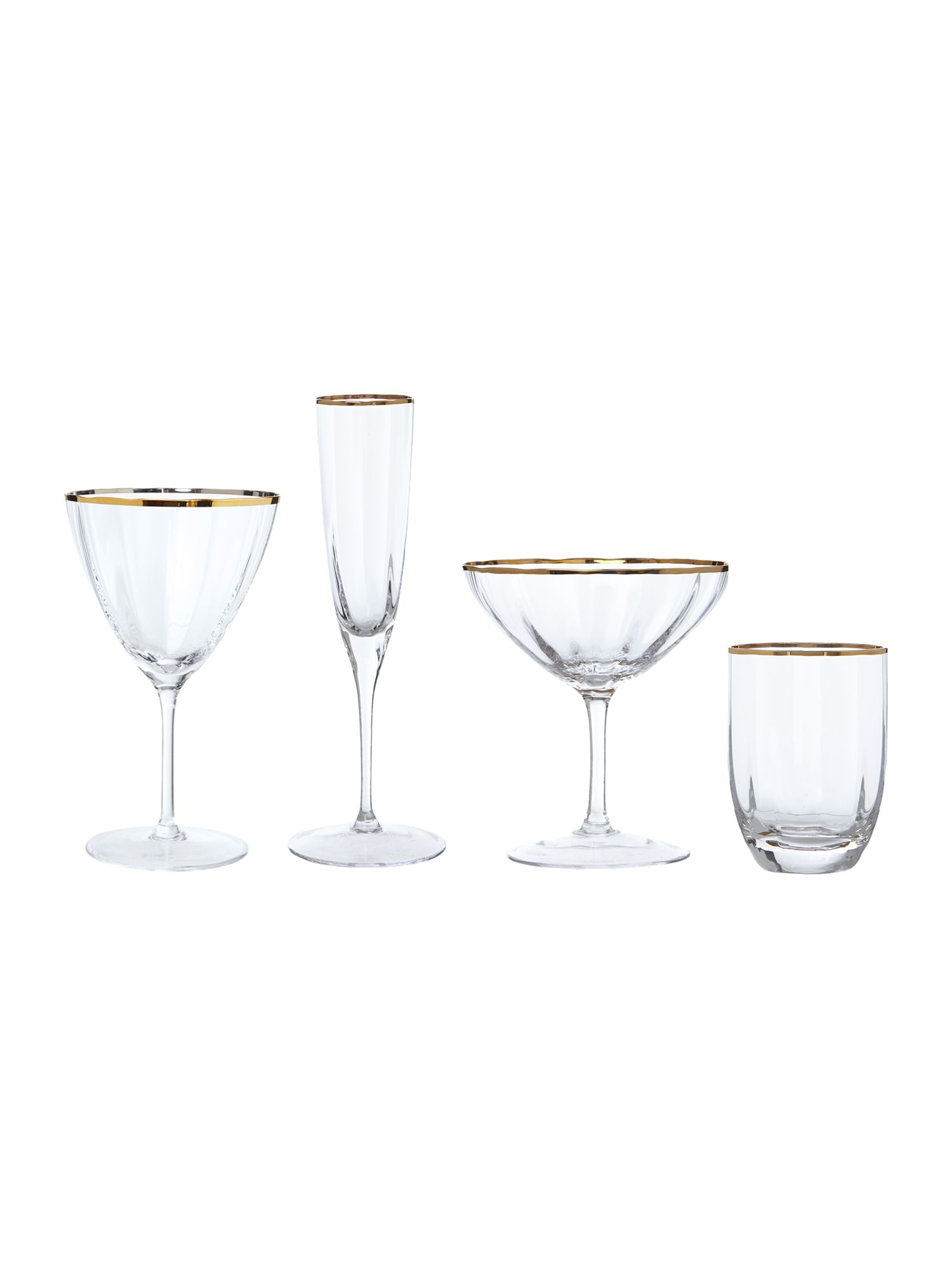 Gold rim optic glassware