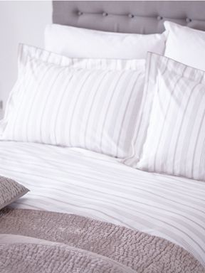 Casa Couture Platinum stripe bed linen