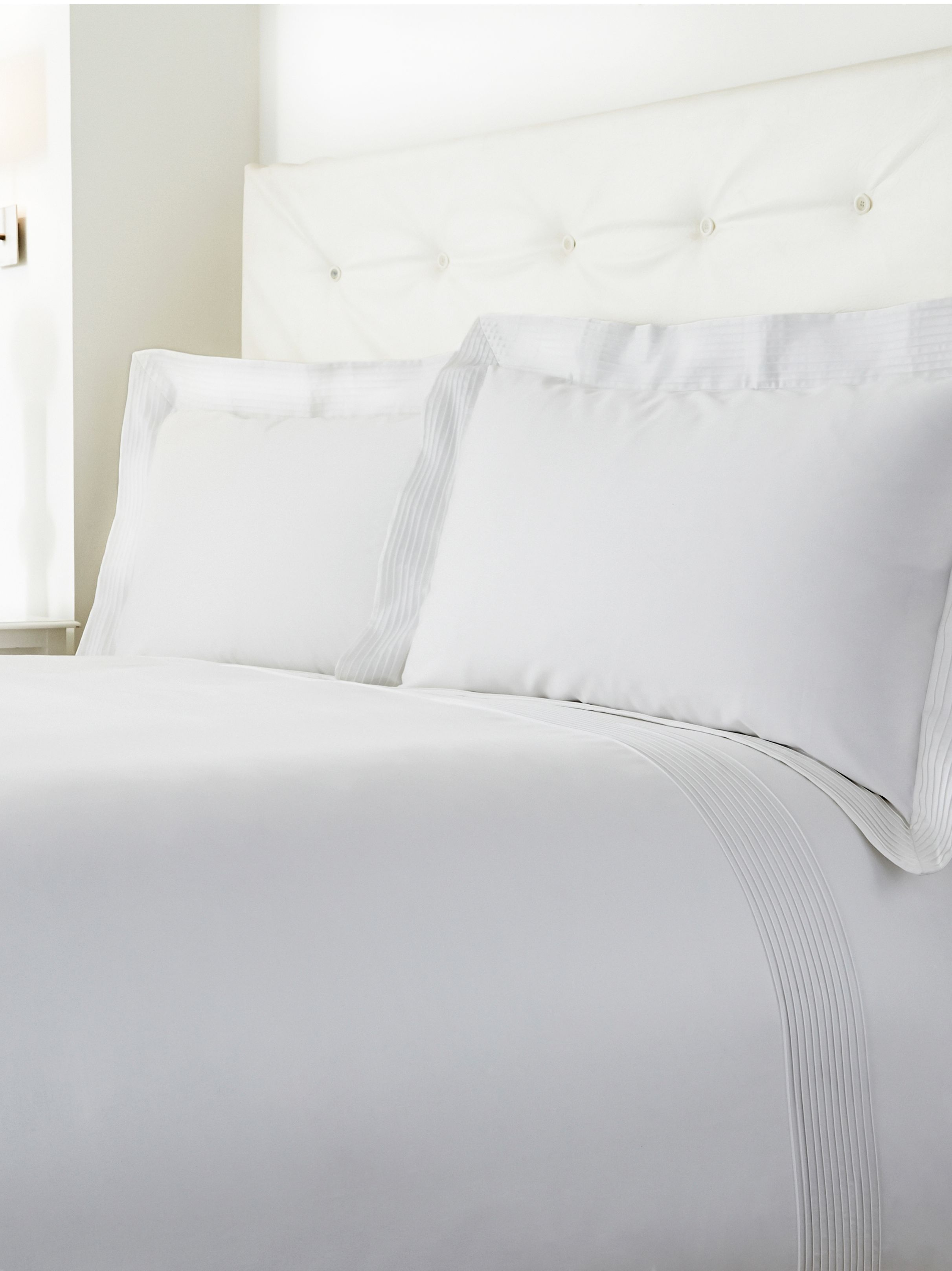 Oxford pintuck double duvet cover set white
