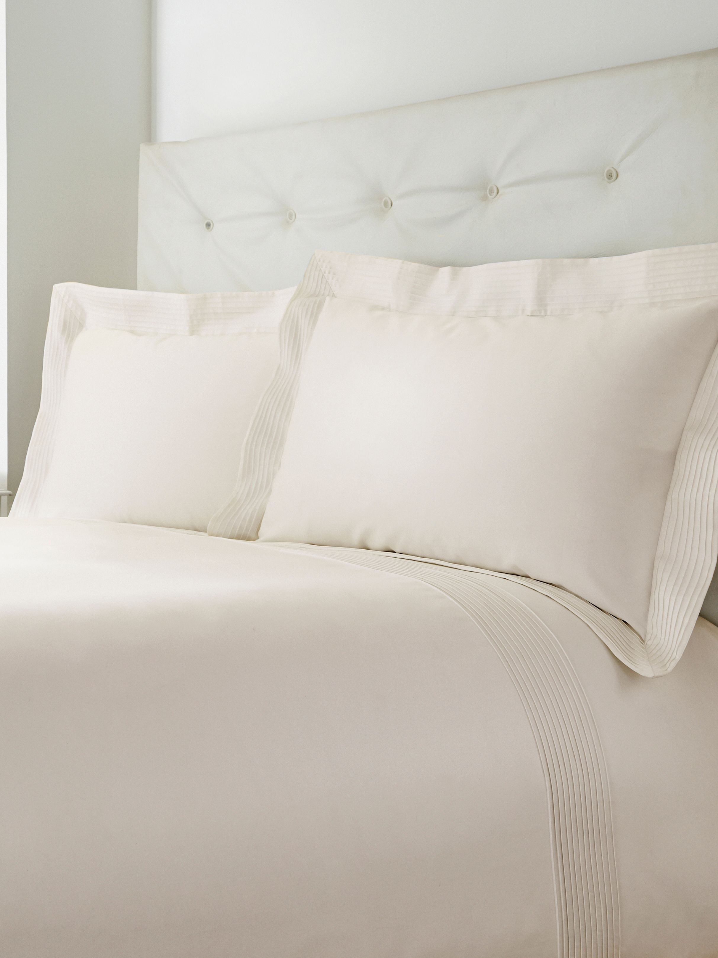 Oxford pintuck super king duvet cover set cream