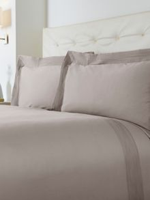 Oxford pintuck double duvet cover set taupe